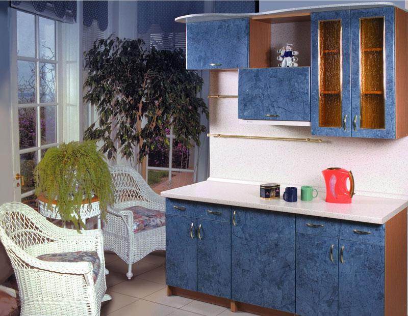 Кухня постформинг синий глянец